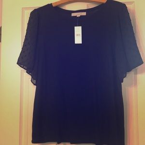 NWT Loft black tee with sheer sleeves